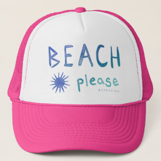 BEACH PLEASE Watercolor Beachy Quote *Ombre* Trucker Hat