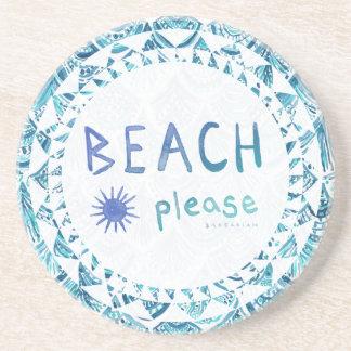BEACH PLEASE Watercolor Funny Quote *Ombre* Coaster