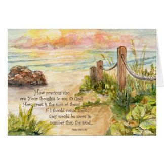 Beach Post Sunrise- Psalm 139:17-18a Card