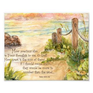 Beach Post Sunrise- Psalm 139:17-18a Photo Print