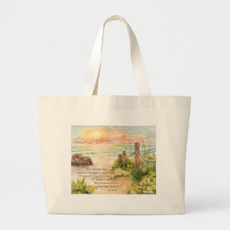 Beach Posts Sunrise-Psalm 139 8x10 Large Tote Bag