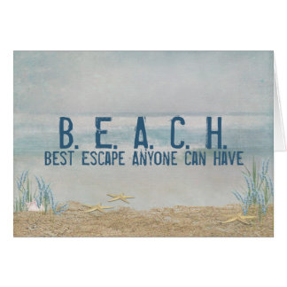 beach quote with starfish card