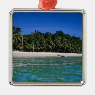 Beach, raft in a distance Silver-Colored square decoration