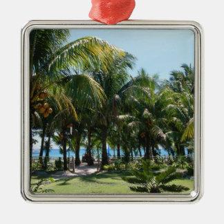Beach resort Silver-Colored square decoration