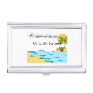 Beach Retirement Add Name And Date Business Card Holder