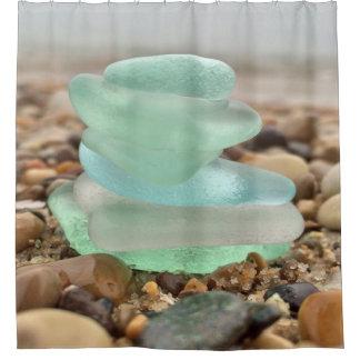 Beach Rocks & Sea Glass Shower Curtain