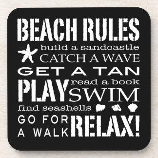 Beach Rules By the Seashore Graphic Black & White Coaster