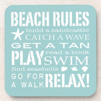 Beach Rules By the Seashore Soft Aqua & White Coaster