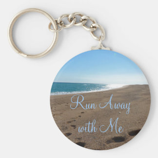 Beach Run Away with Me Quote Basic Round Button Key Ring
