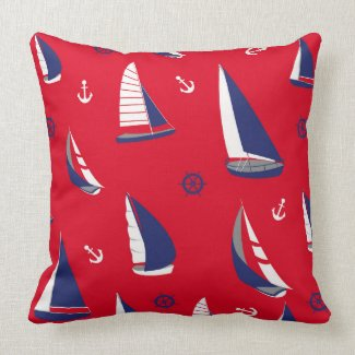 Beach sailboat pattern Nautical throw pillow