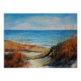 Beach - Sand Dunes and Ocean Painting | Poster
