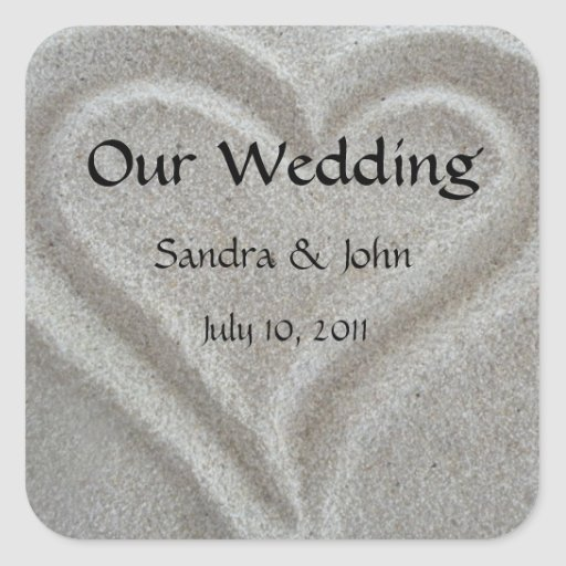 Beach Sand Heart Custom Wedding Stickers