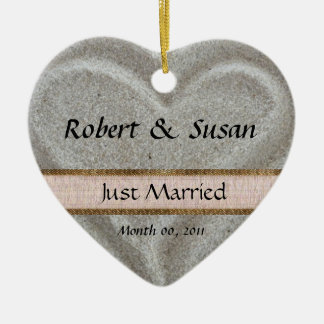 Beach Sand Heart Shaped Wedding Favor Christmas Ornament