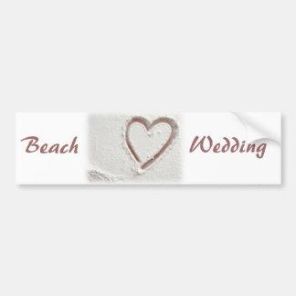 Beach Sand Heart Wedding Bumper Stickers