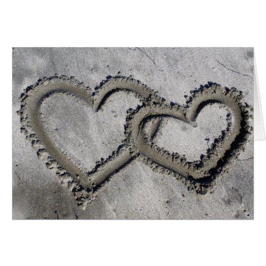 Beach Sand Hearts Card