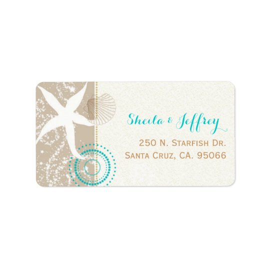 Beach Sand n Starfish Beach Wedding Address Label