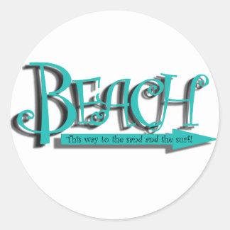 Beach sand-n-surf round sticker