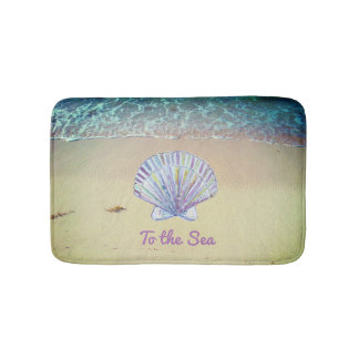 Beach sand seashell custom text bath mat