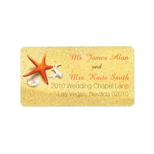Beach Sand Seashells Wedding Label Address Label