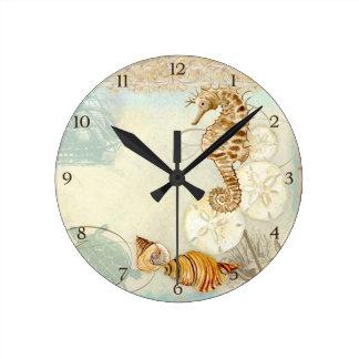 Beach Sand Seashore Collage Turtle Sea Horse Shell Clock