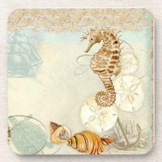 Beach Sand Seashore Collage Turtle Sea Horse Shell Coaster