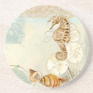 Beach Sand Seashore Collage Turtle Sea Horse Shell Drink Coasters