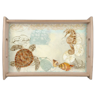 Beach Sand Seashore Collage Turtle Sea Horse Shell Serving Tray