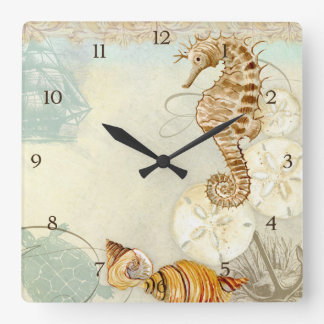 Beach Sand Seashore Collage Turtle Sea Horse Shell Square Wall Clock