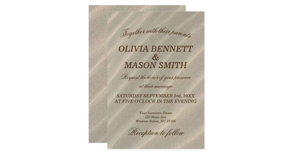 Textured Paper For Wedding Invitations: Beach Sand Textured Wedding Invitation