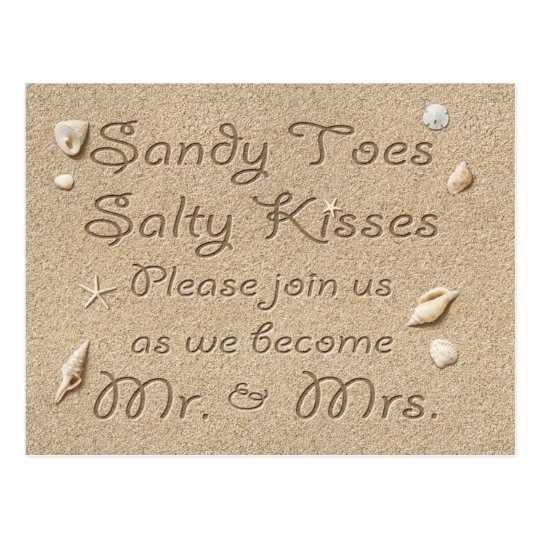 Beach Sandy Toes Salty Kisses Save the Date