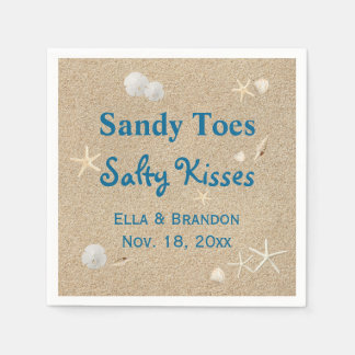 Beach Sandy Toes Salty Kisses Wedding Napkin Paper Napkin