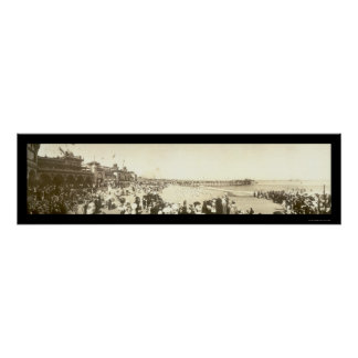 Beach Santa Cruz, CA Photo 1908 Poster