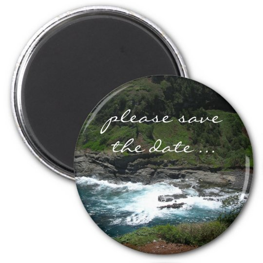 beach save the date 6 cm round magnet
