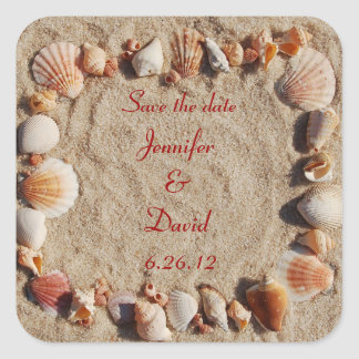 Beach Save the Date Envelope Seals Square Sticker