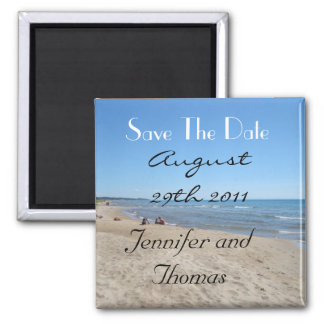 Beach Save The Date Square Magnet