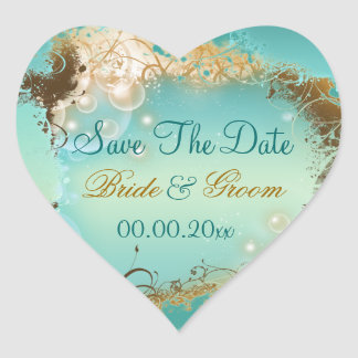 "Beach ""save the date"" wedding aqua white heart sticker"
