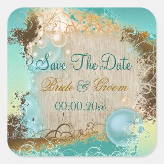 "Beach ""save the date"" wedding aqua white square sticker"