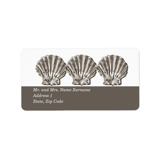 Beach scallop shell return address label