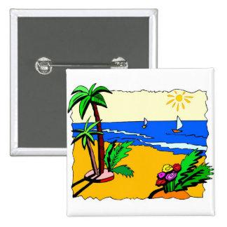 Beach Scene 15 Cm Square Badge