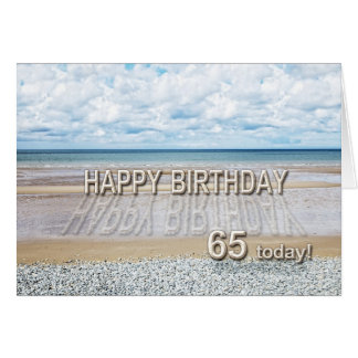 Beach scene 65th birthday card with 3D letters