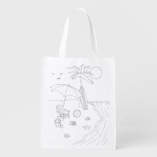 Beach Scene Adult Coloring Bag