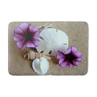 Beach Scene Bath Mat Shells and Flowers
