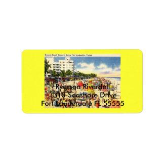 Beach Scene, Fort Lauderdale, Florida Vintage Address Label