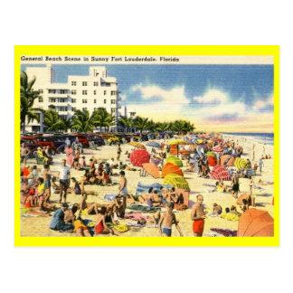 Beach Scene, Fort Lauderdale, Florida Vintage Postcard
