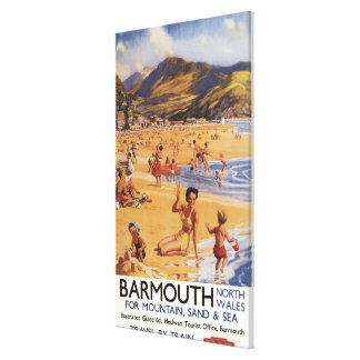 Beach Scene Mother and Kids British Rail Canvas Print