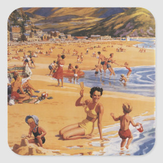 Beach Scene Mother and Kids British Rail Square Sticker