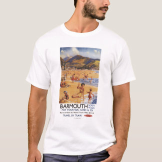 Beach Scene Mother and Kids British Rail T-Shirt