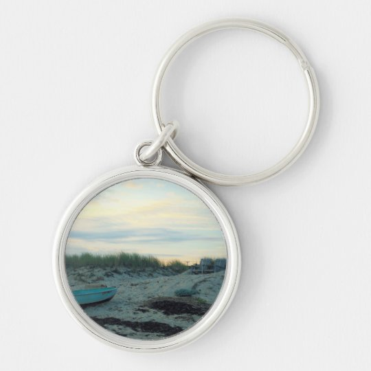 Beach Scene Silver-Colored Round Key Ring