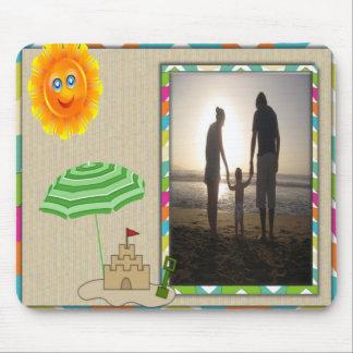 Beach Scene, Sun, Sand, Sandcastle Photo Template Mouse Pad