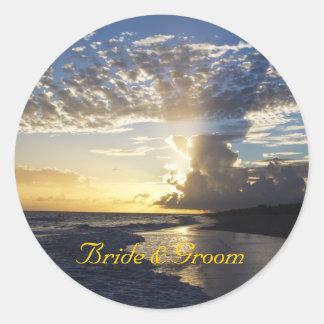 Beach Scene Sunset Wedding Stickers